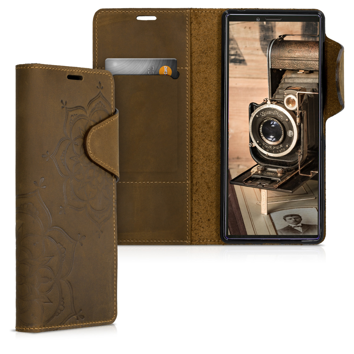 Kalibri Δερμάτινη Suede Θήκη - Πορτοφόλι Sony Xperia 1 - Brown (47991.05)