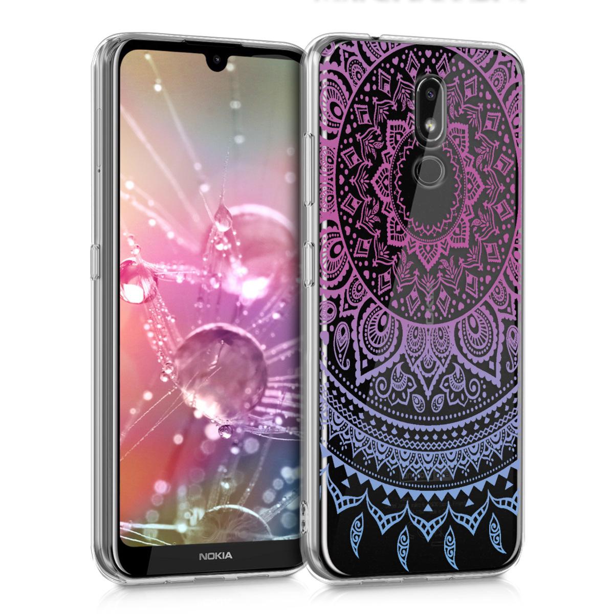 KW Θήκη Σιλικόνης Nokia 3.2 - Crystal Clear - Blue / Dark Pink / Transparent (48015.03)