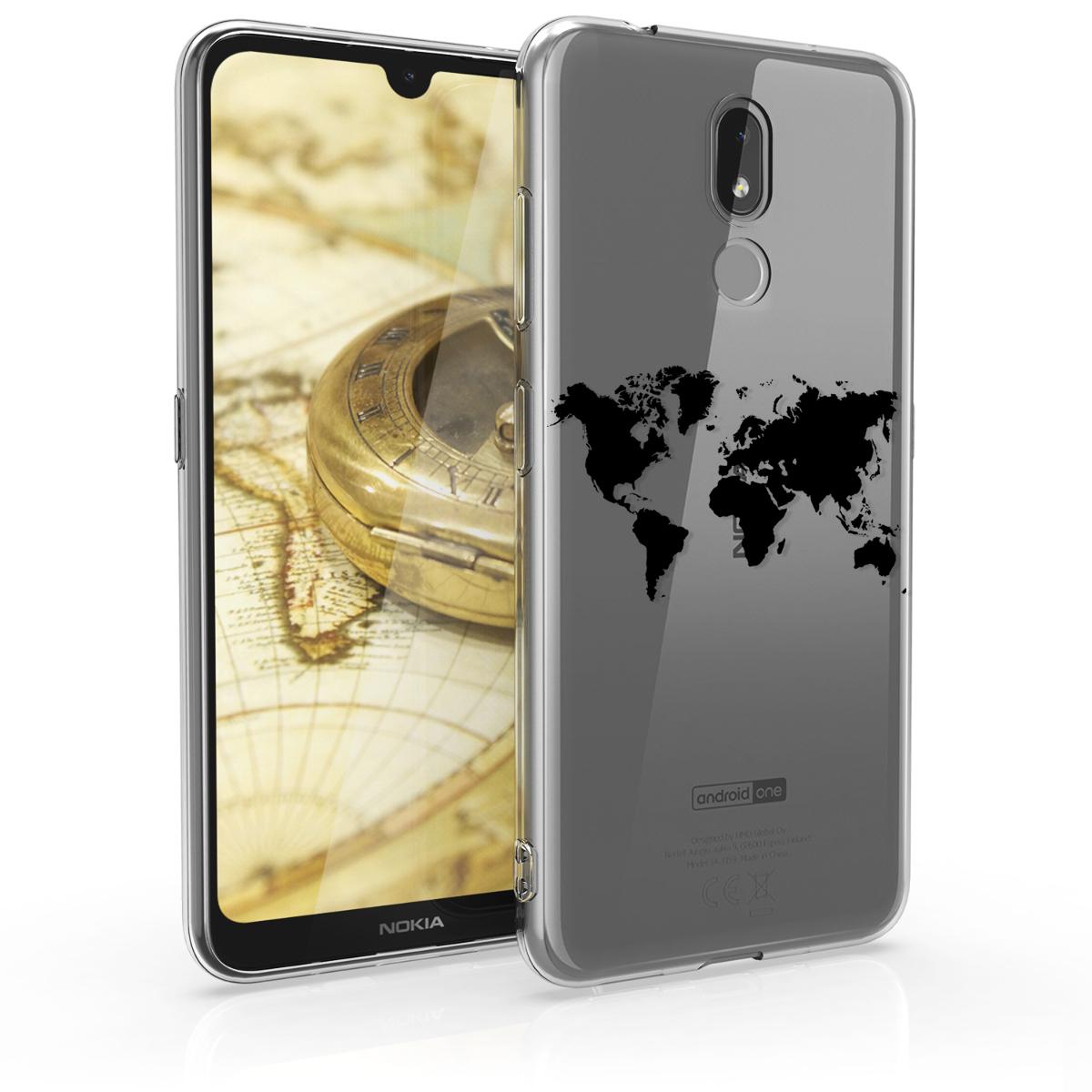 KW Θήκη Σιλικόνης Nokia 3.2 - Crystal Clear - Black / Transparent (48015.06)