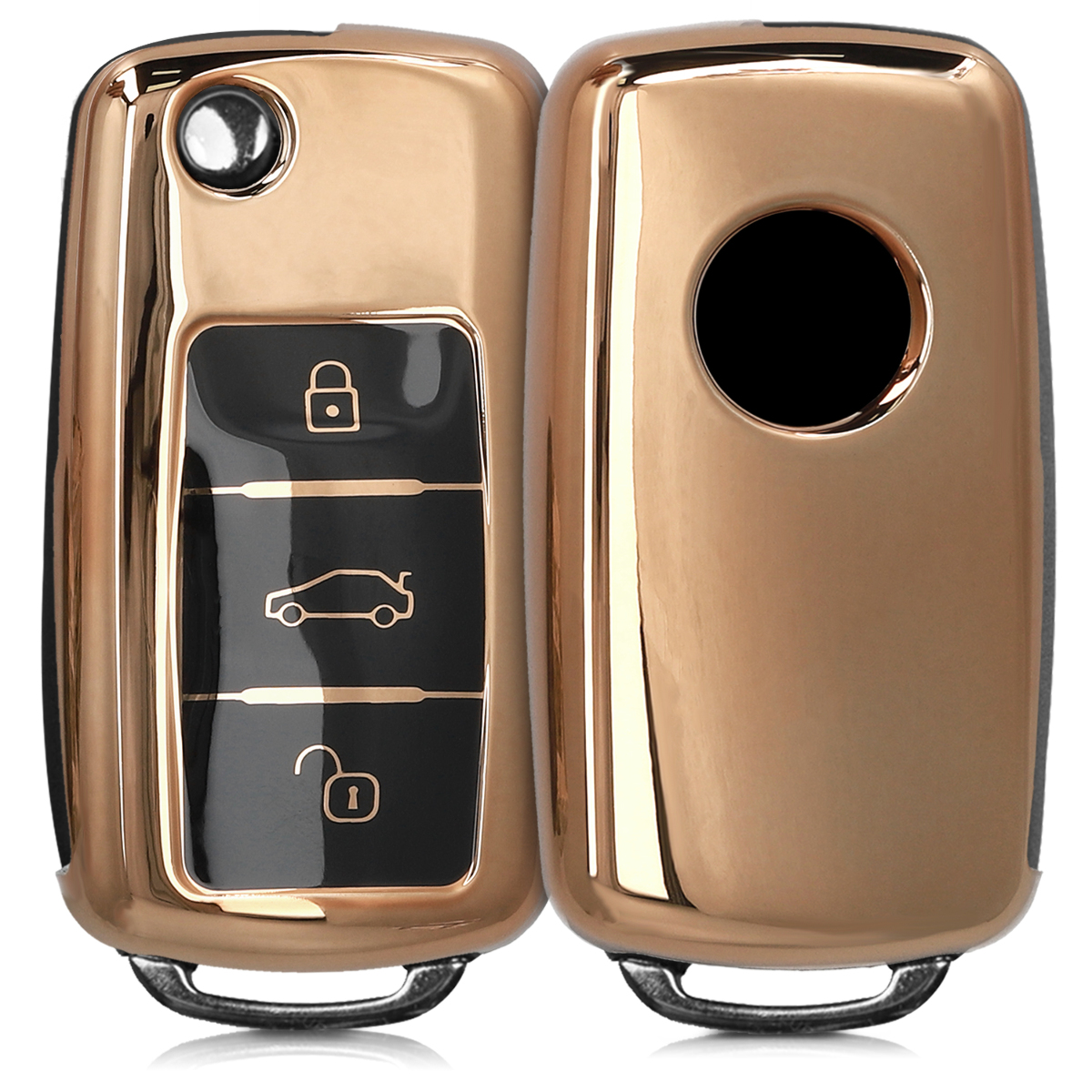 KW Θήκη Κλειδιού VW Skoda Seat - Σιλικόνη - 3 Κουμπιά - Gold High Gloss ( 48036.92)