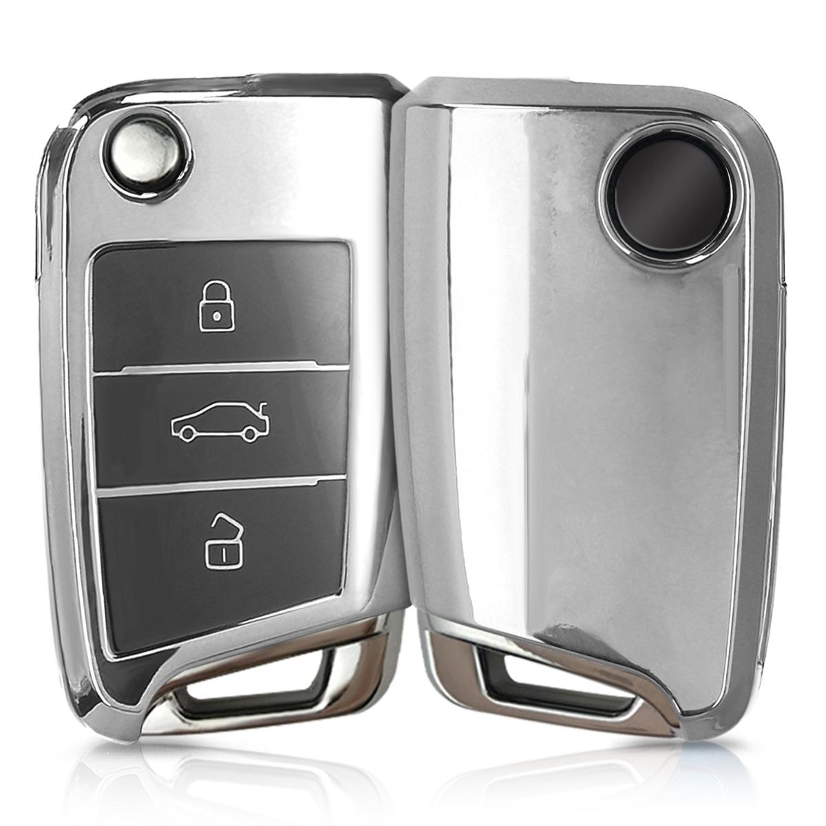 KW Θήκη Κλειδιού VW Golf 7 MK7 - Σιλικόνη -  3 Κουμπιά - Silver High Gloss (48037.94)
