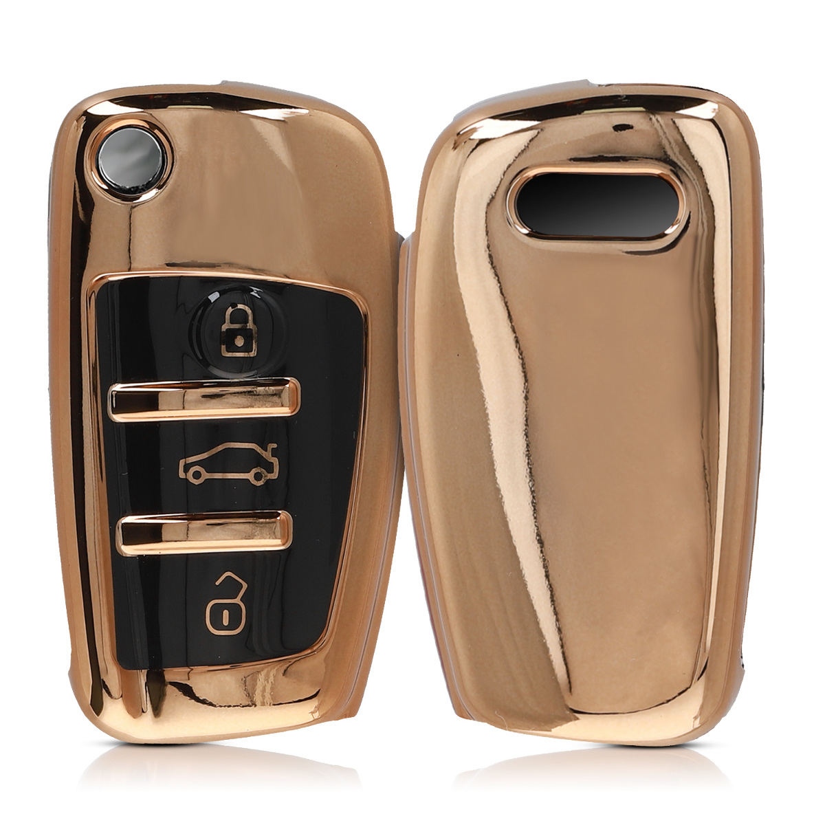 KW Θήκη Κλειδιού Audi - Σιλικόνη - 3 Κουμπιά - Gold High Gloss (48038.92)