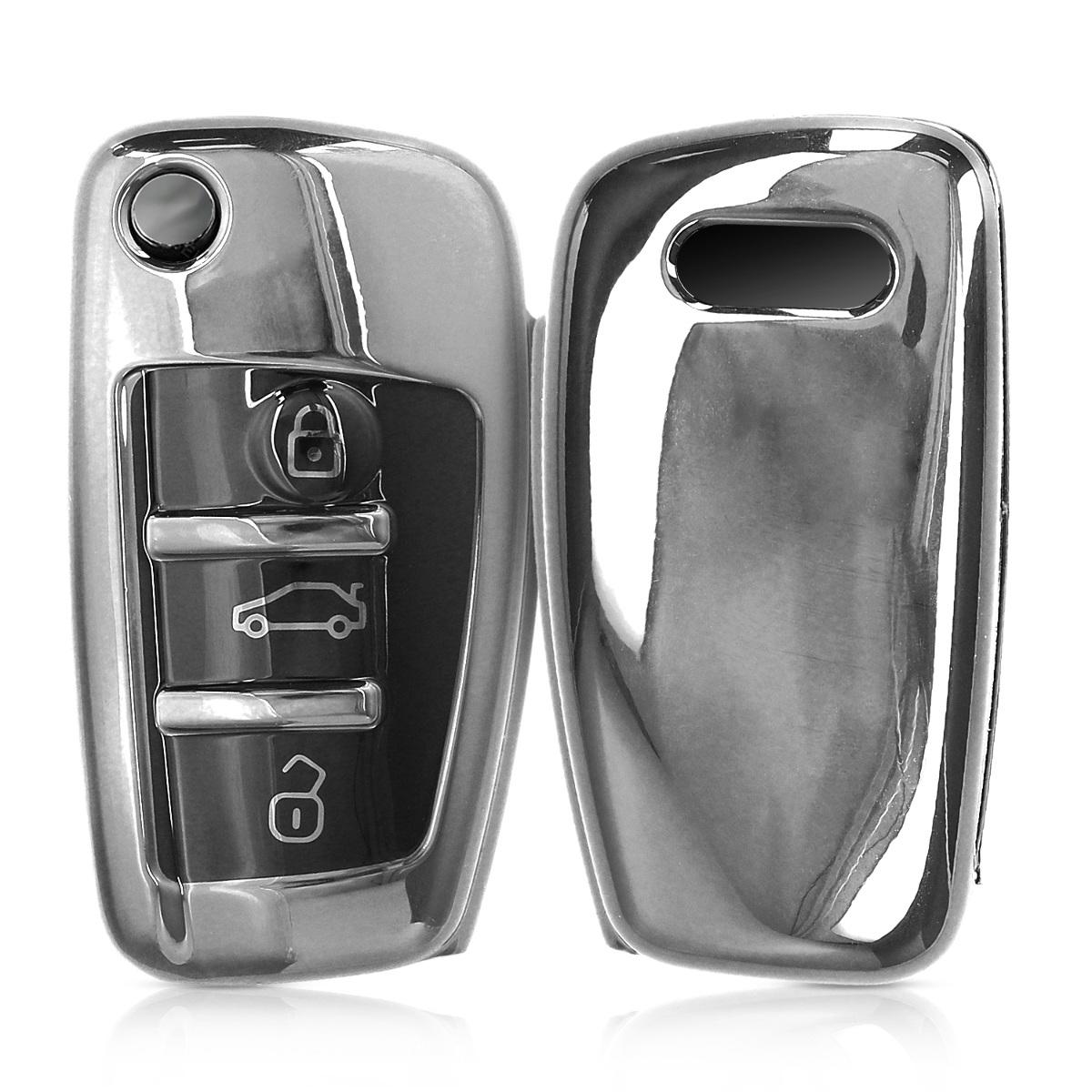 KW Θήκη Κλειδιού Audi - Σιλικόνη - 3 Κουμπιά - Silver High Gloss (48038.94)
