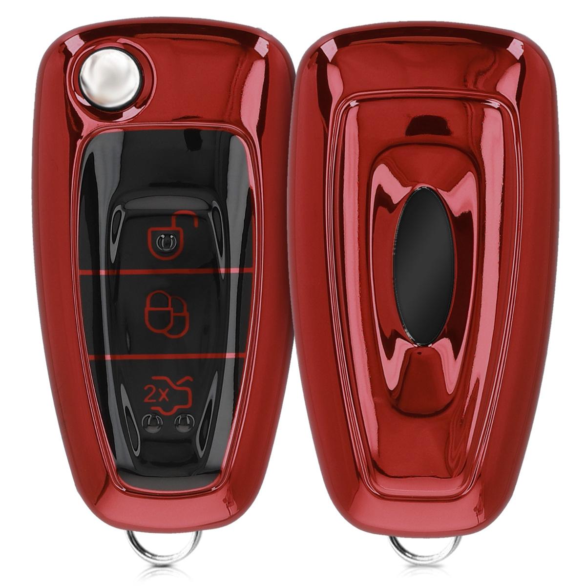 KW Θήκη Κλειδιού Ford - Σιλικόνη - 3 Κουμπιά - Red High Gloss (48039.97)