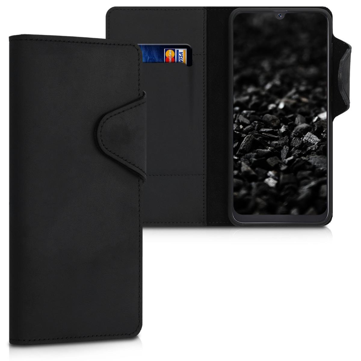 Kalibri Δερμάτινη Suede Θήκη - Πορτοφόλι Samsung Galaxy A50 - Black (48059.01)