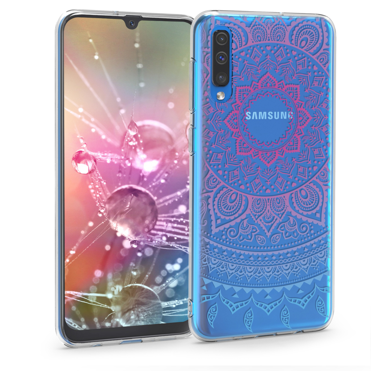 KW Θήκη Σιλικόνης Samsung Galaxy A50 - Blue / Dark Pink / Transparent (48060.03)