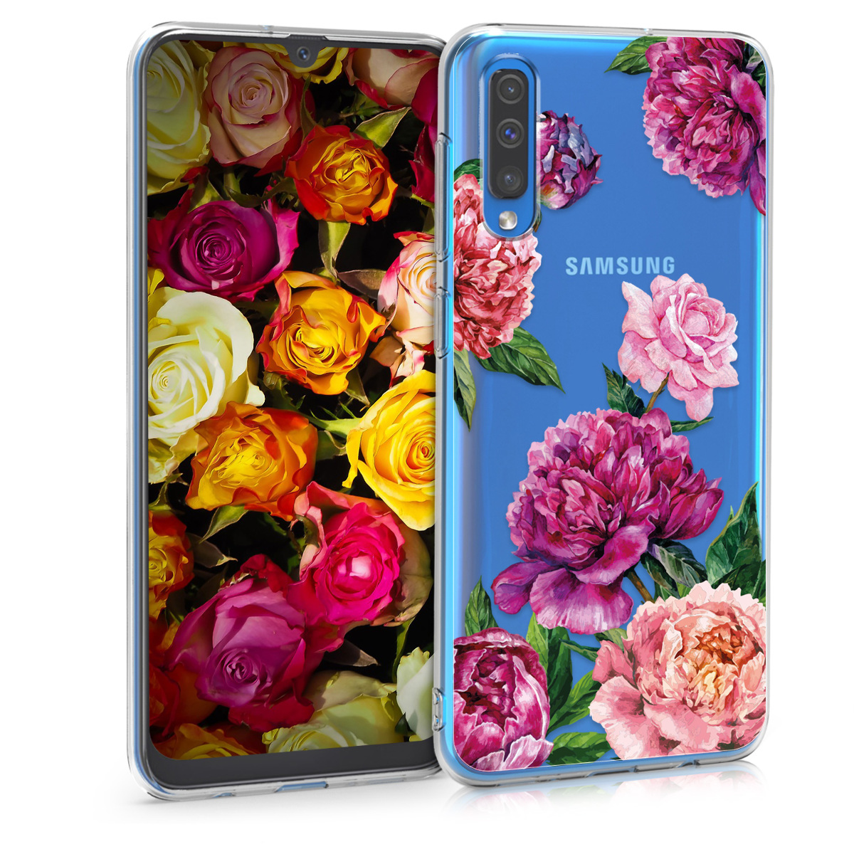 KW Θήκη Σιλικόνης Samsung Galaxy A50 - Violet / Light Pink / Transparent (48060.12)