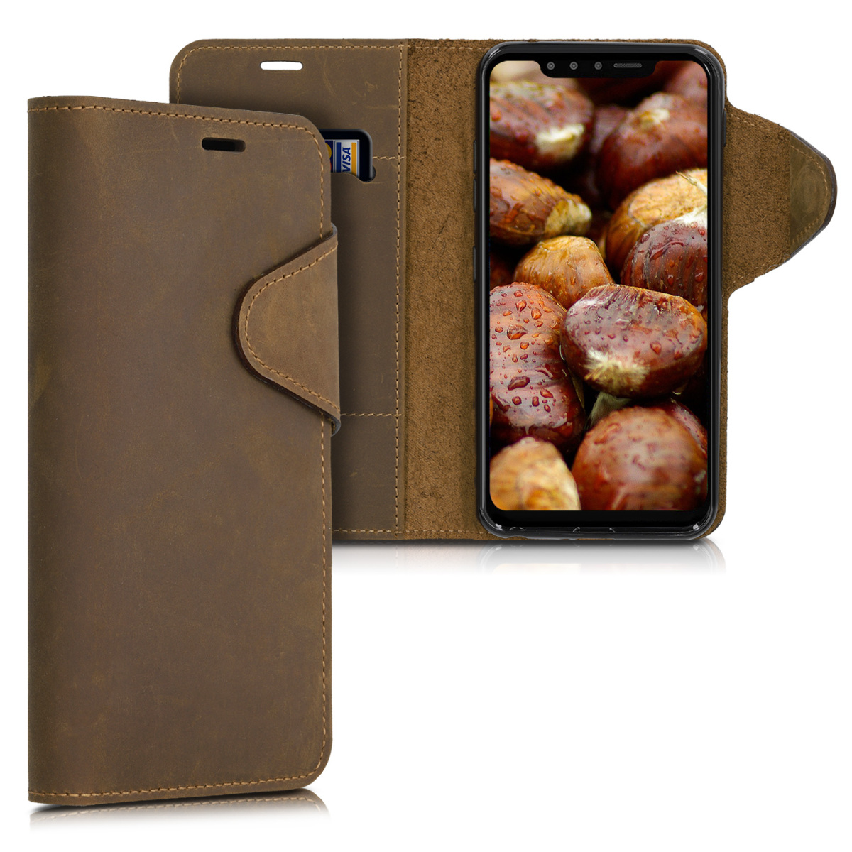 Kalibri Δερμάτινη Suede Θήκη - Πορτοφόλι LG G8s ThinQ - Brown (48075.05)