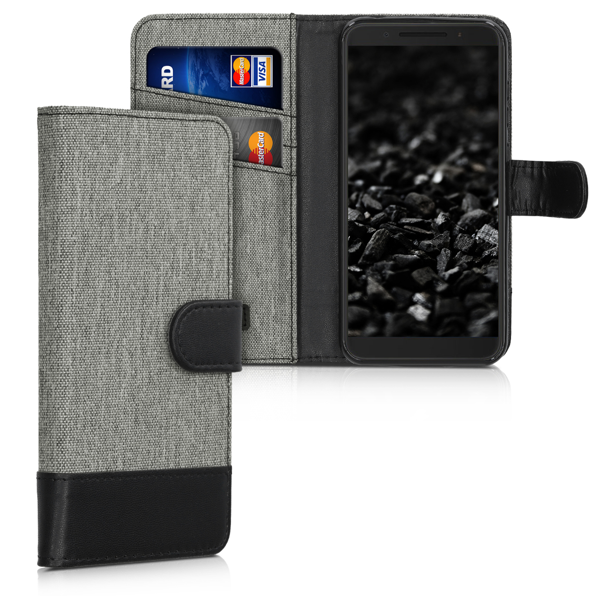 kwmobile Wallet Case for Alcatel 1S - Fabric and PU Leather Flip Cover with Card Slots and Stand - Grey / Black