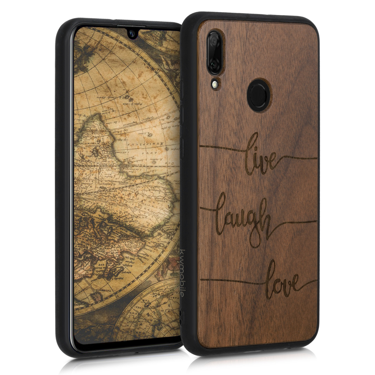 KW Σκληρή Ξύλινη Θήκη με TPU Bumper Huawei P Smart 2019 - Live, Laugh, Love (48117.16)