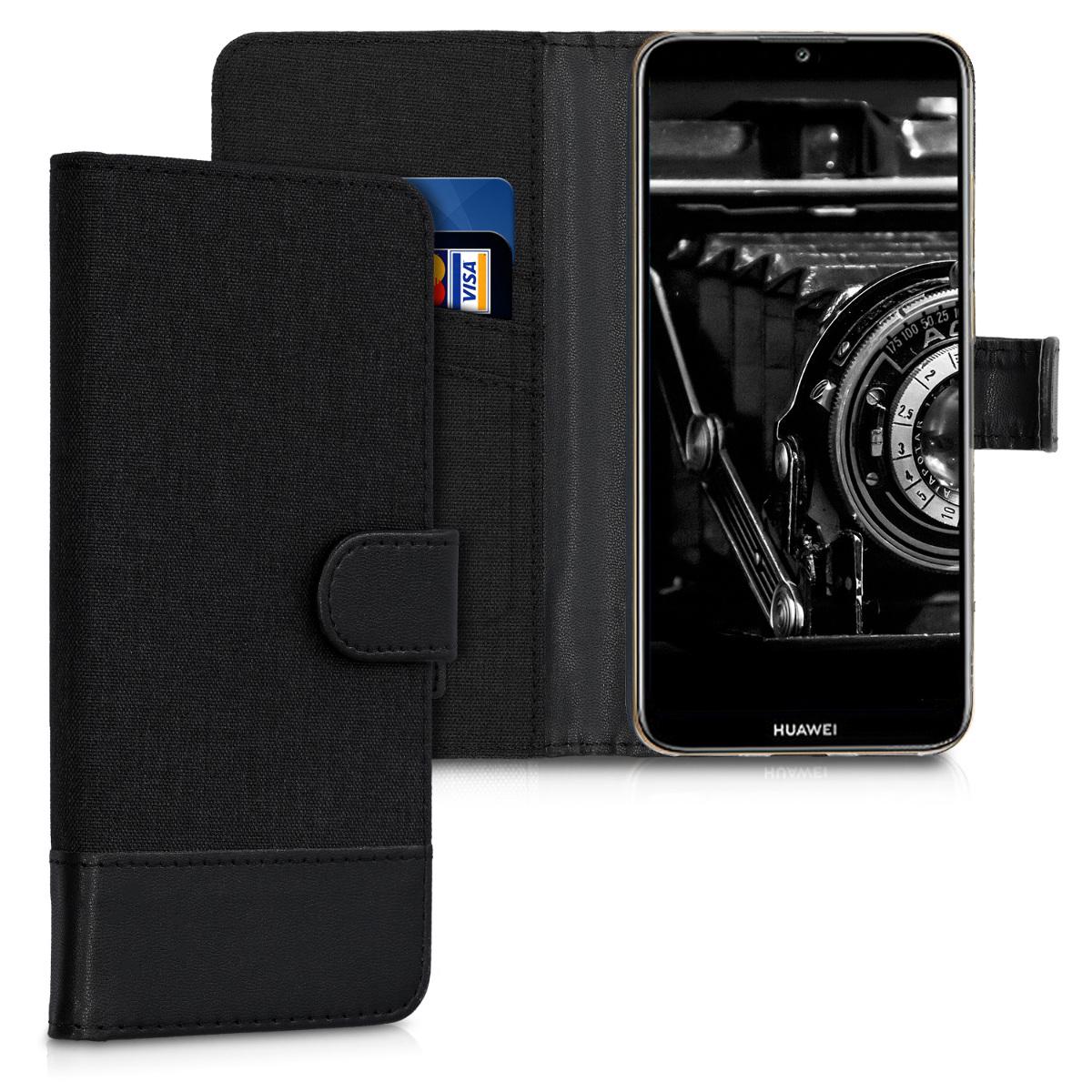 KW Θήκη - Πορτοφόλι Huawei Y6 2019 - Anthracite / Black (48126.04)