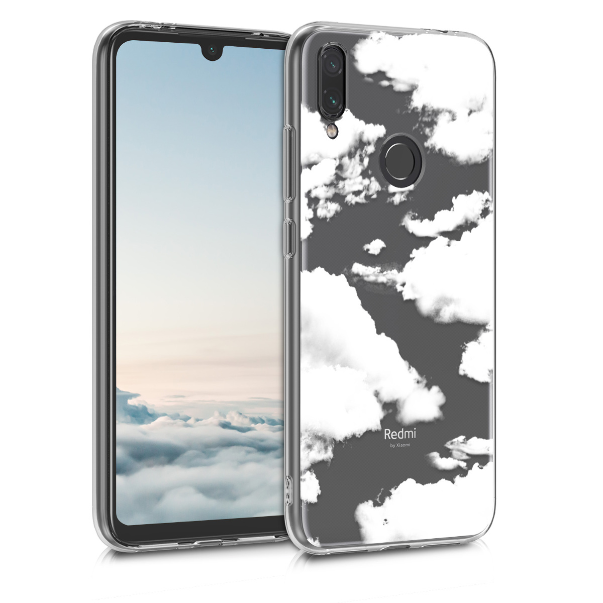 KW Θήκη Σιλικόνης Xiaomi Redmi Note 7 / Note 7 Pro - Bunch of Clouds - White / Transparent (48156.09)