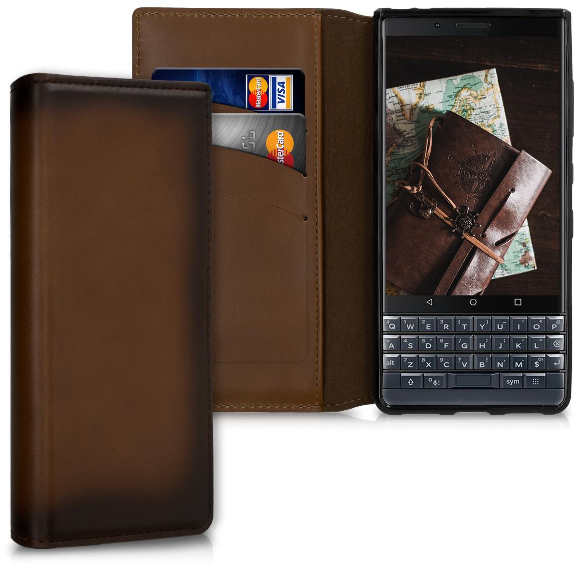 Kalibri Δερμάτινη Θήκη Πορτοφόλι Blackberry KEYtwo LE (Key2 LE) - Vintage Brown (48273.133)