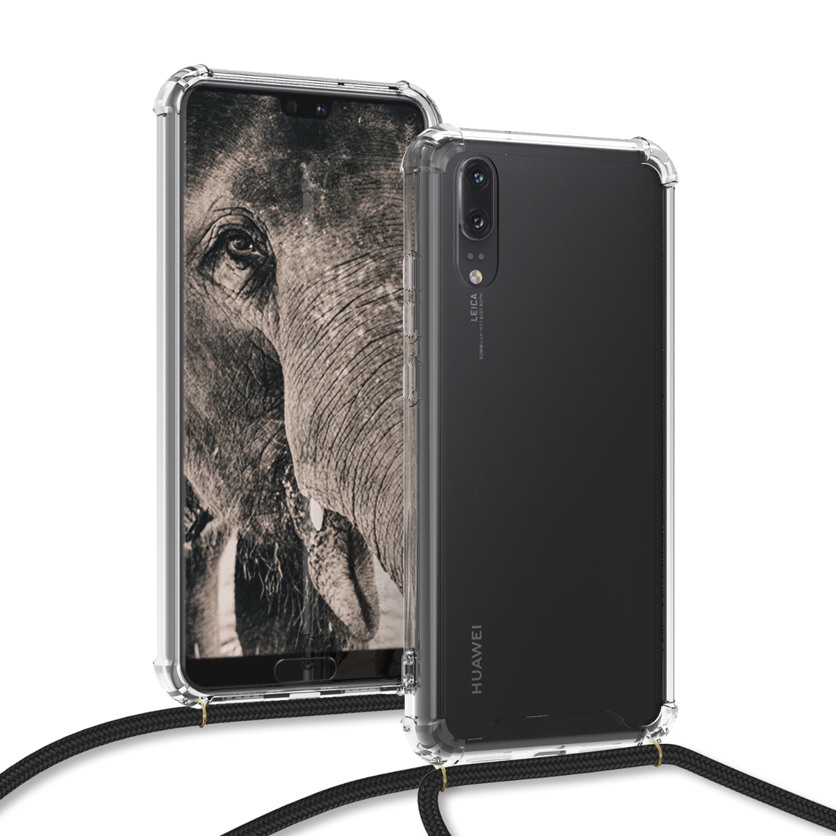 KW Θήκη Σιλικόνης με Λουράκι Λαιμού Huawei P20 - Transparent (48424.03)