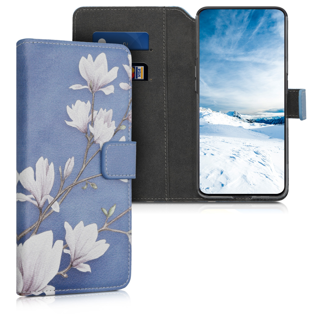 KW Θήκη - Πορτοφόλι Samsung Galaxy A80 - PU Leather Protective Flip Cover - Taupe / White / Blue Grey (48446.03)