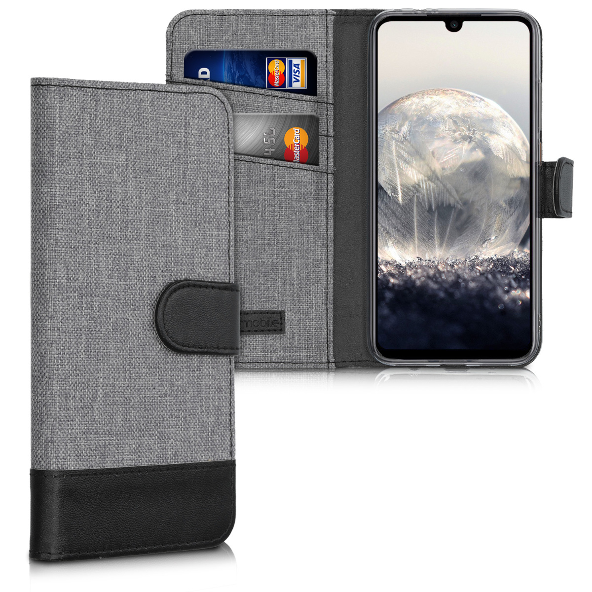KW Θήκη - Πορτοφόλι Xiaomi Redmi Note 7 / Note 7 Pro - Fabric and PU Leather Flip Cover - Grey / Black (48448.22)