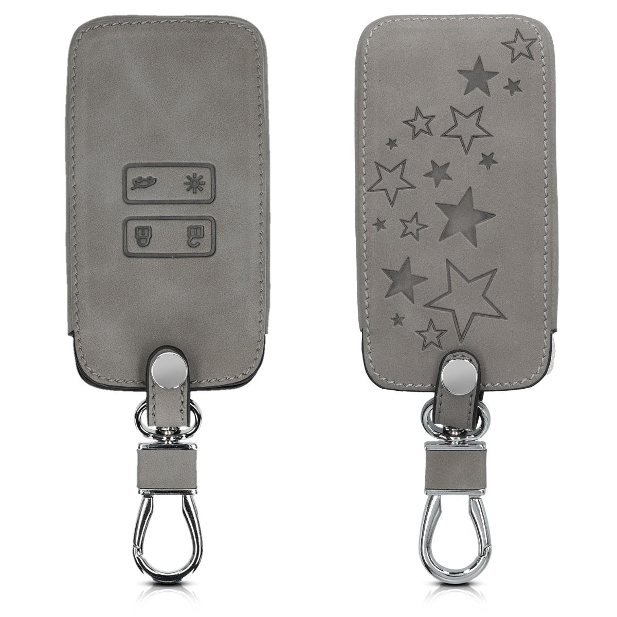 KW PU Leather Θήκη Κλειδιού Renault - 4 Κουμπιά  - Grey  (48565.03)
