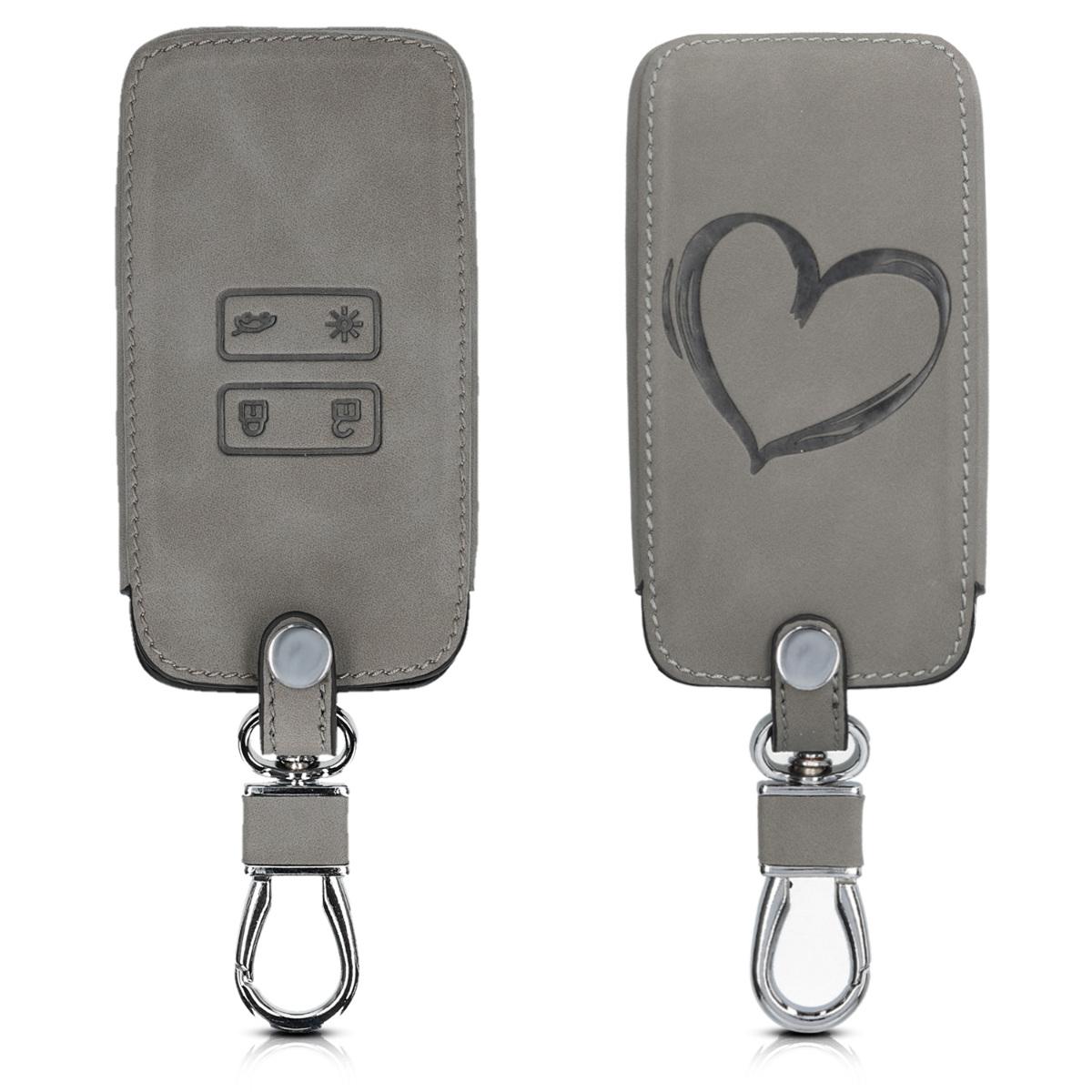 KW Θήκη Κλειδιού Renault - Συνθετικό Δέρμα - 4 Κουμπιά - Grey (48565.06)