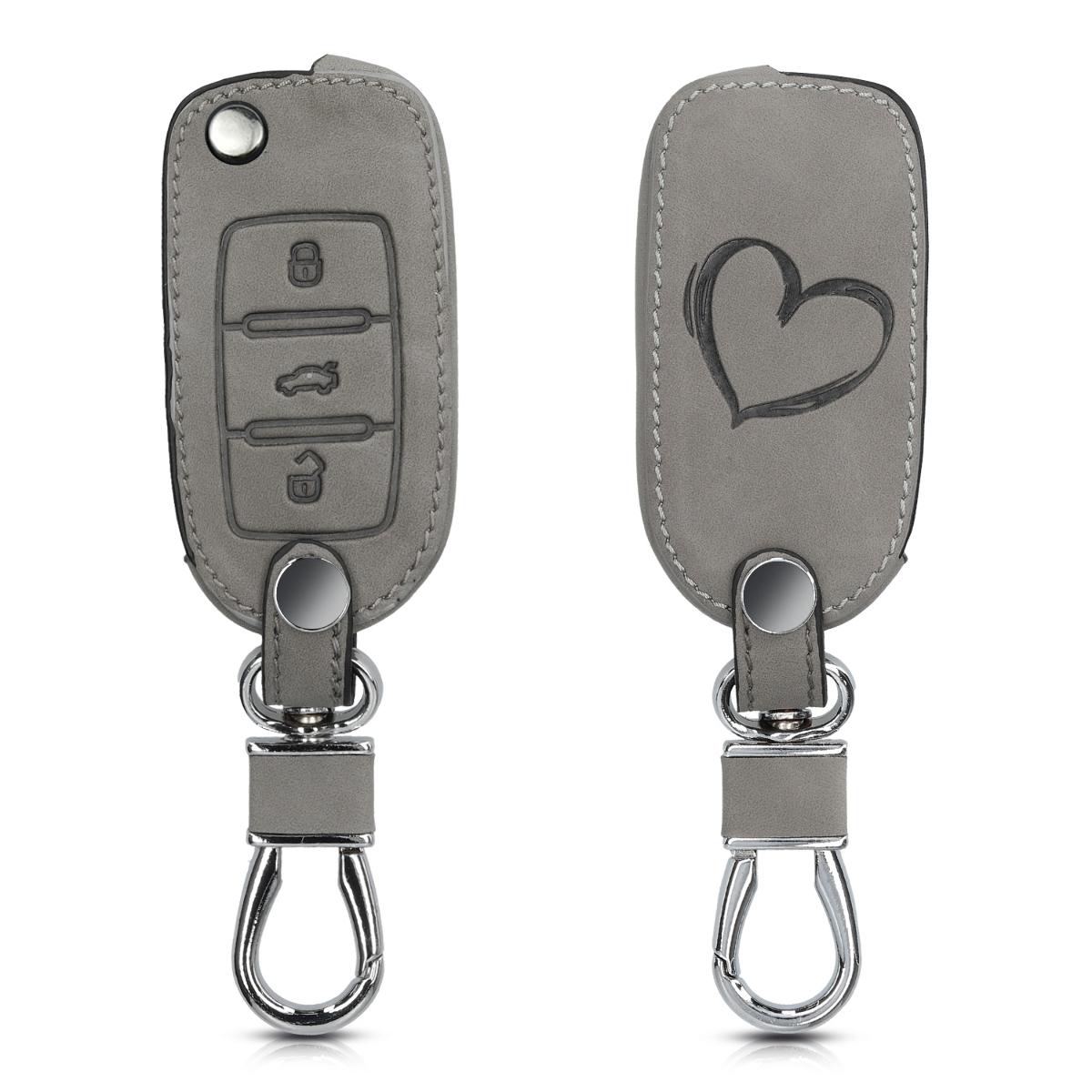 KW Θήκη Κλειδιού VW / Skoda / Seat - Συνθετικό Δέρμα - 3 Κουμπιά - Grey (48571.06)