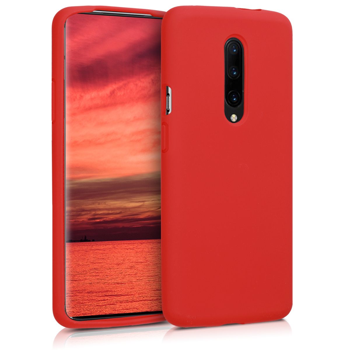KW Θήκη Σιλικόνης OnePlus 7 Pro - Soft Flexible Rubber Protective Cover - Red (48595.09)