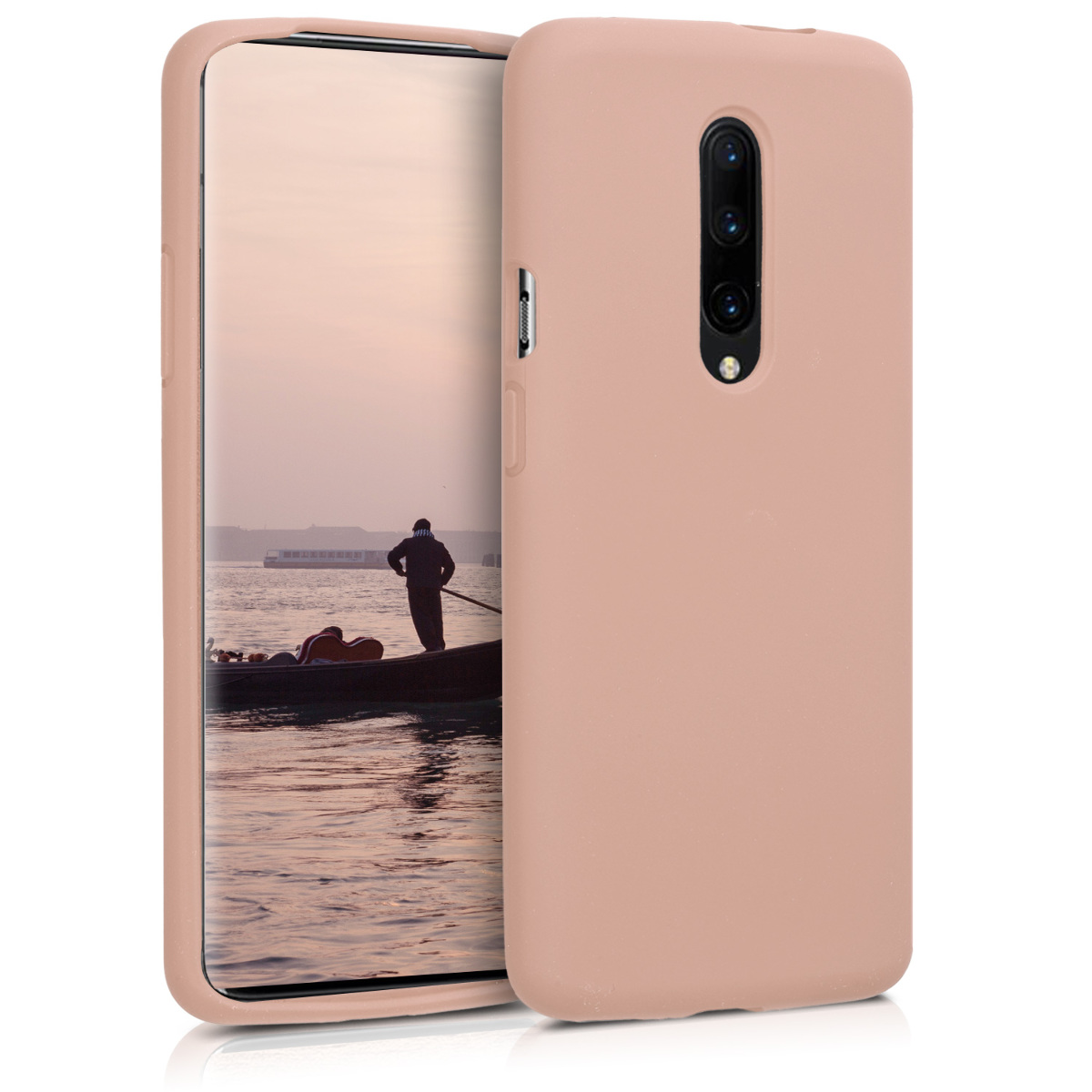 KW Θήκη Σιλικόνης OnePlus 7 Pro - Soft Flexible Rubber Protective Cover - Dusty Pink (48595.10)