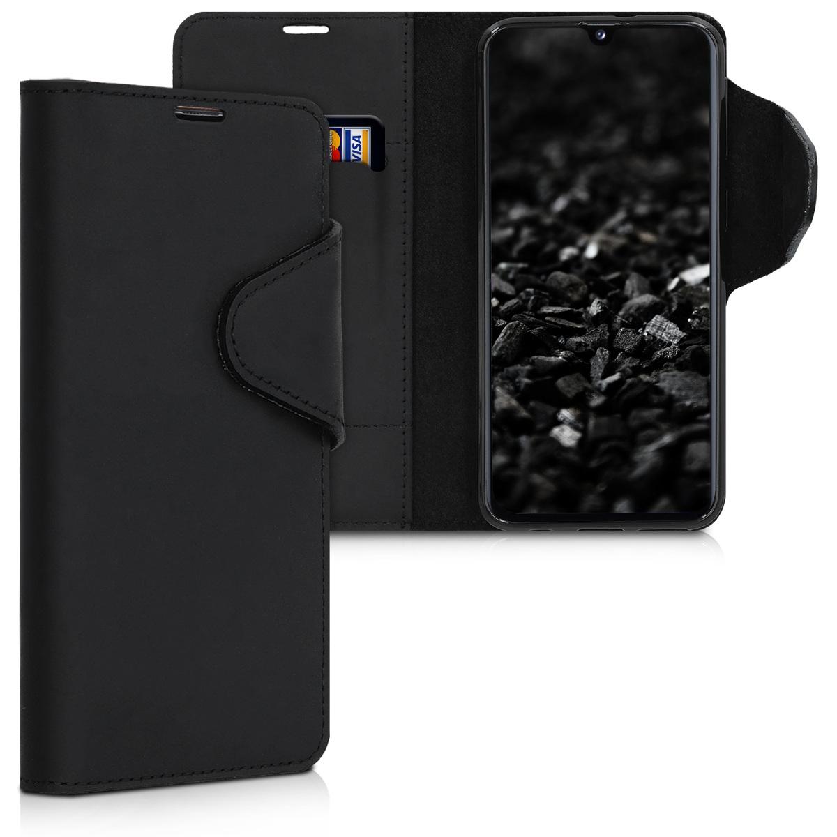 Kalibri Δερμάτινη Suede Θήκη - Πορτοφόλι Samsung Galaxy A40  - Black (48667.01)