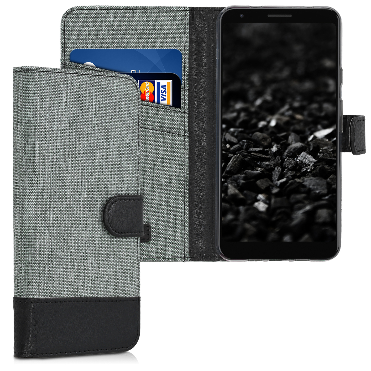 KW Θήκη Πορτοφόλι Google Pixel 3a XL - Grey / Black (48736.22)