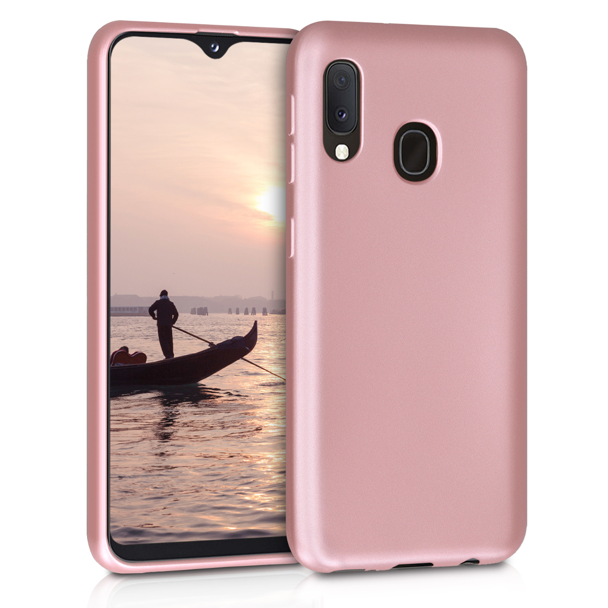 KW Θήκη Σιλικόνης Samsung Galaxy A20e  - Metallic Rose Gold (48739.31)