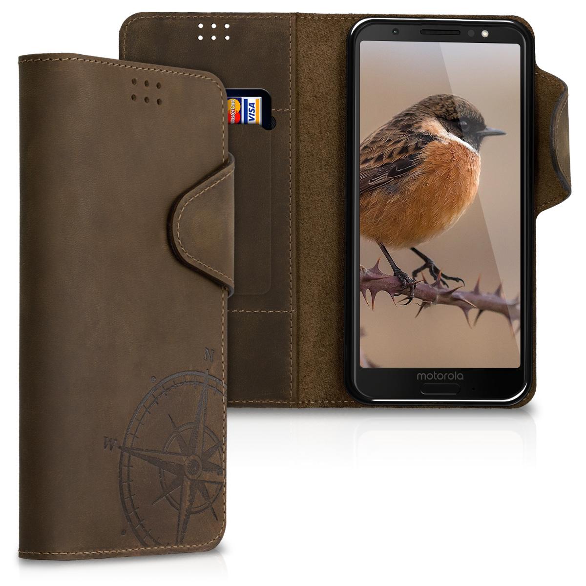 Kalibri Δερμάτινη Suede Θήκη Πορτοφόλι Motorola Moto G6 - Brown (48763.01)