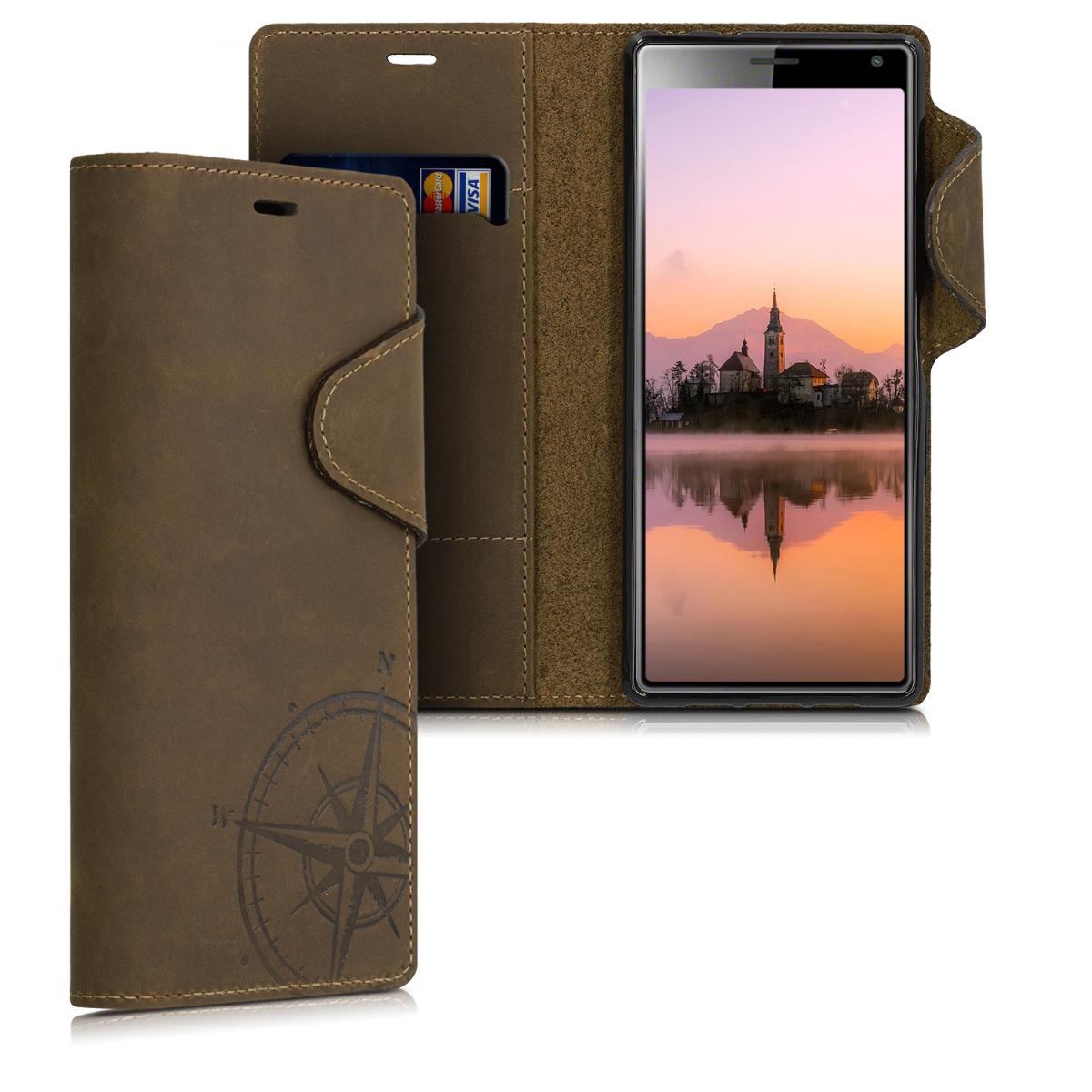 Kalibri Δερμάτινη Suede Θήκη - Πορτοφόλι Sony Xperia 10 - Brown (48773.01)