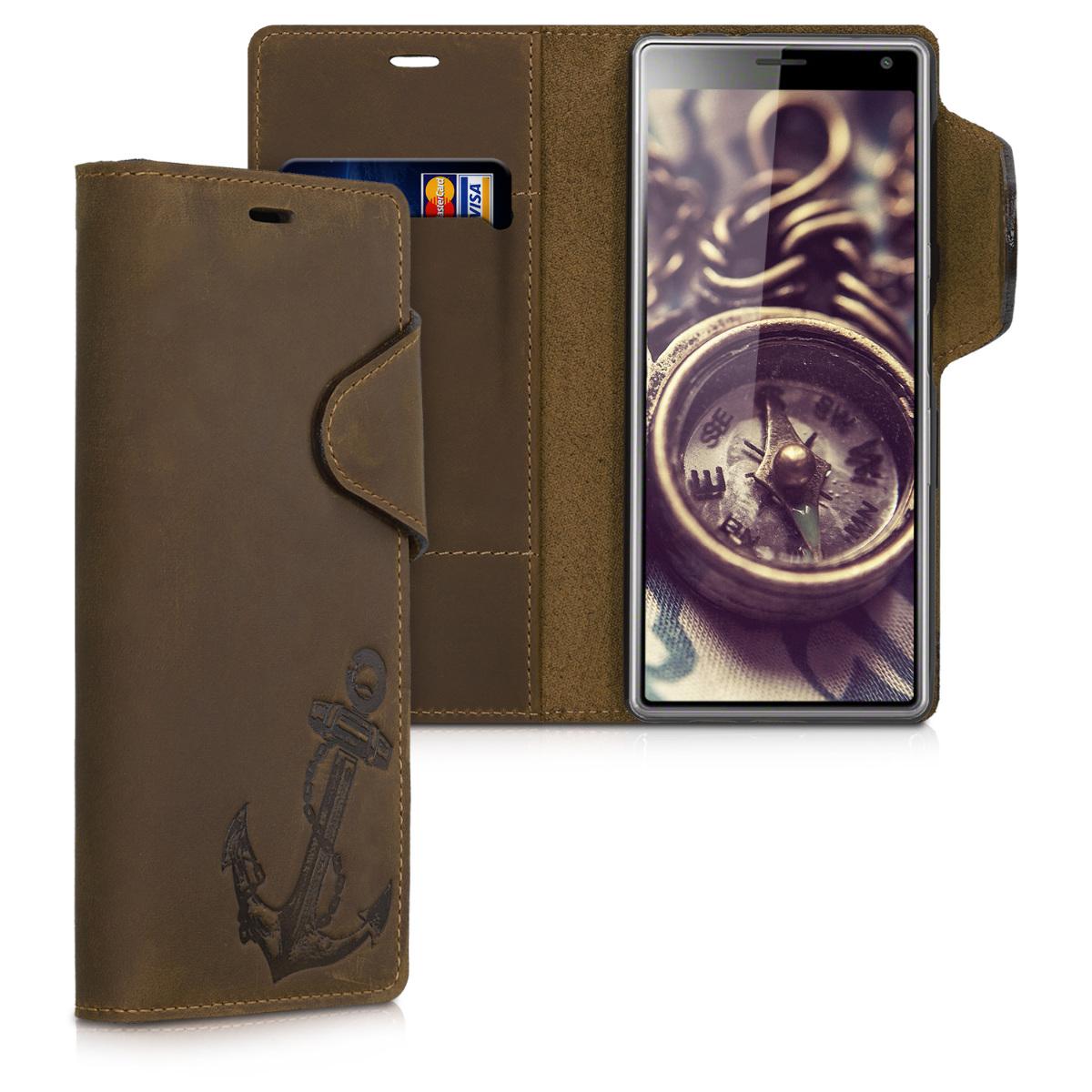 Kalibri Δερμάτινη Suede Θήκη - Πορτοφόλι Sony Xperia 10 - Brown (48773.02)