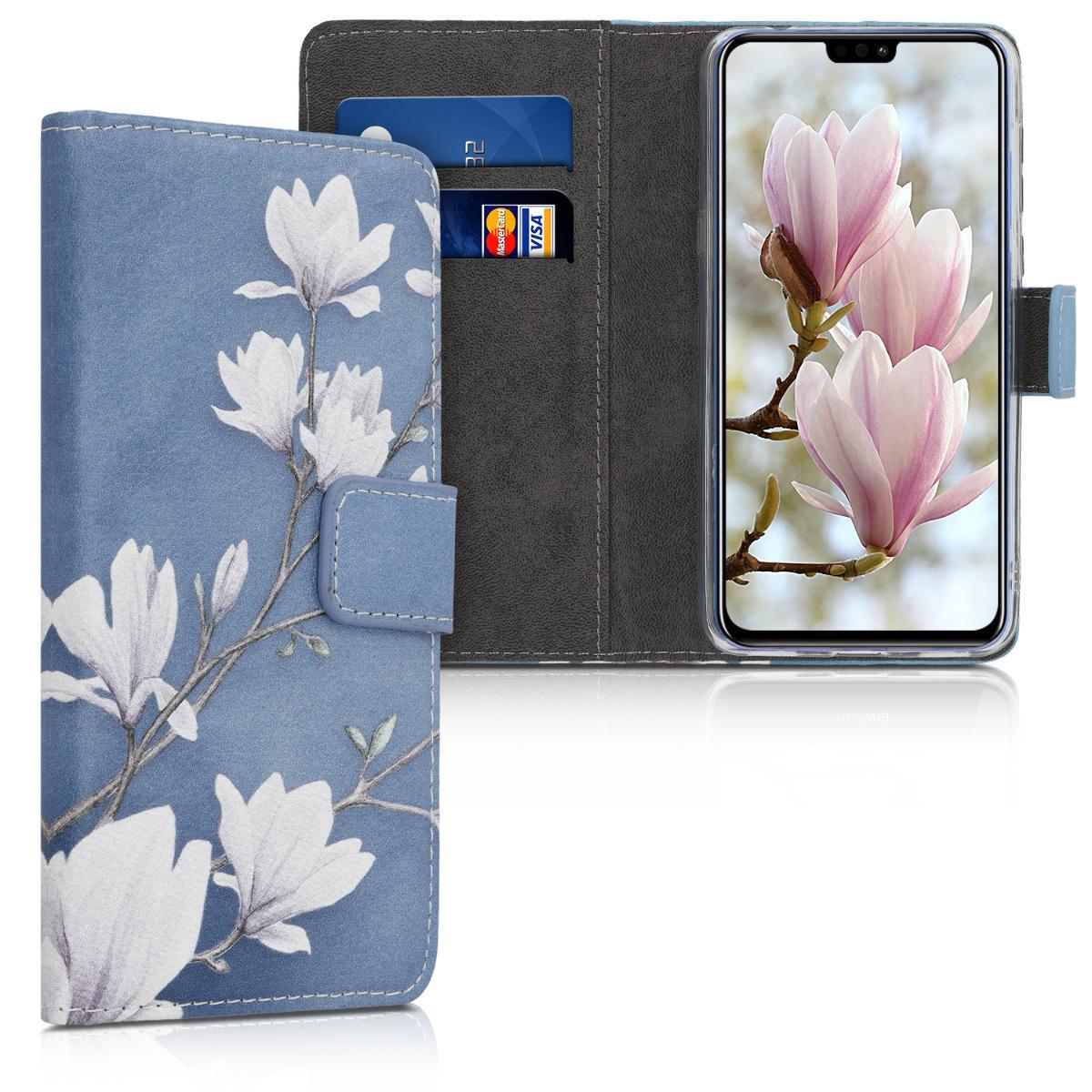 KW Θήκη Πορτοφόλι Huawei Honor 8X - Taupe / White / Blue Grey (48779.02)