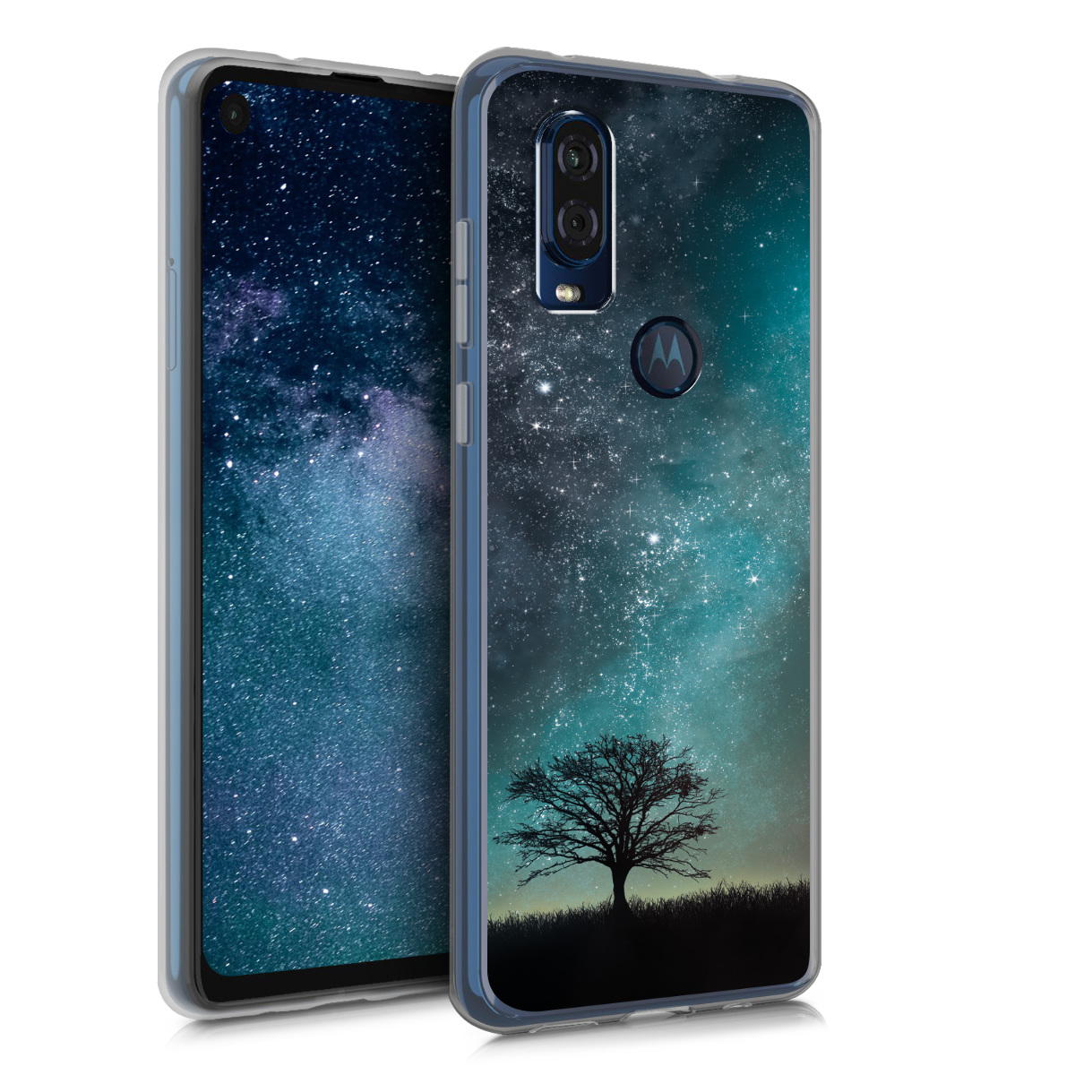 KW Θήκη Σιλικόνης Motorola One Vision - Blue / Grey / Black (48845.03)