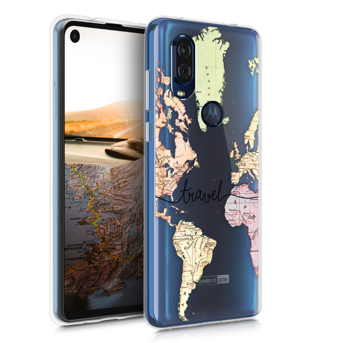 KW Θήκη Σιλικόνης Motorola One Vision - Travel Black - Multicolor / Transparent (48845.04)