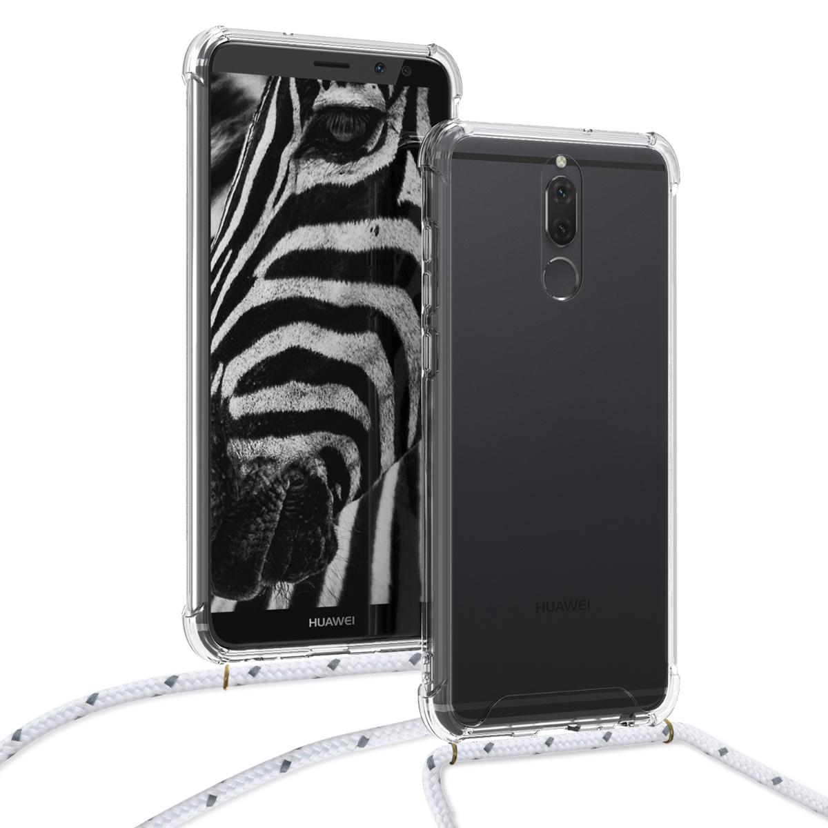 KW Θήκη Σιλικόνης με Λουράκι Λαιμού Huawei Mate 10 Lite - Transparent / White (48850.02)