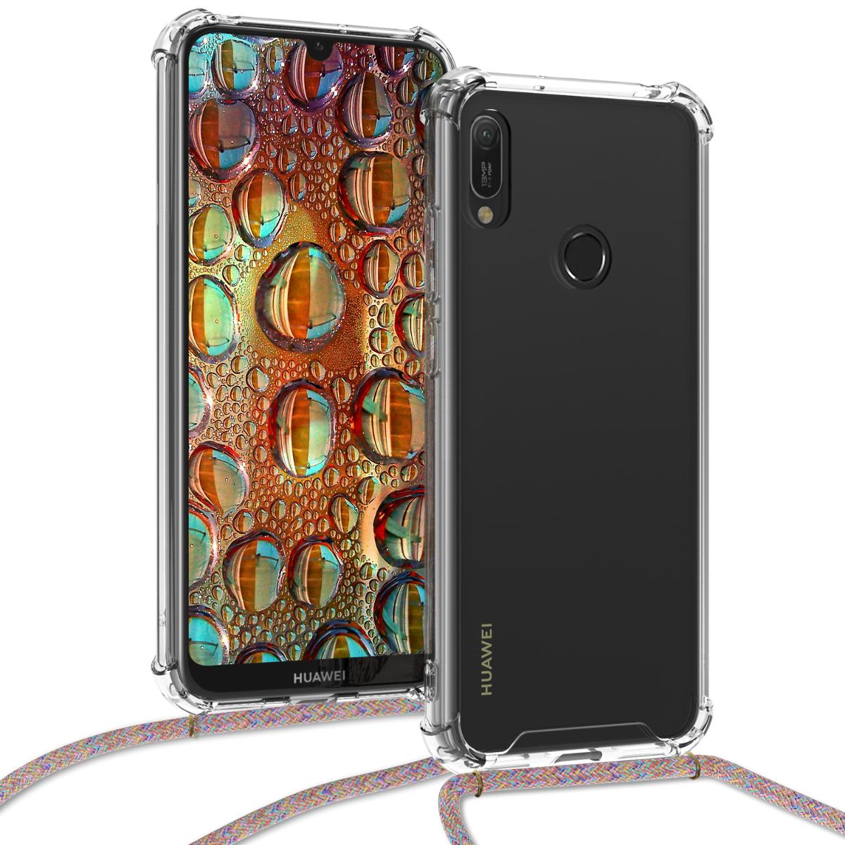 KW Θήκη Σιλικόνης με Λουράκι Λαιμού Huawei Y6 2019 - Transparent / Multicolor (48864.32)