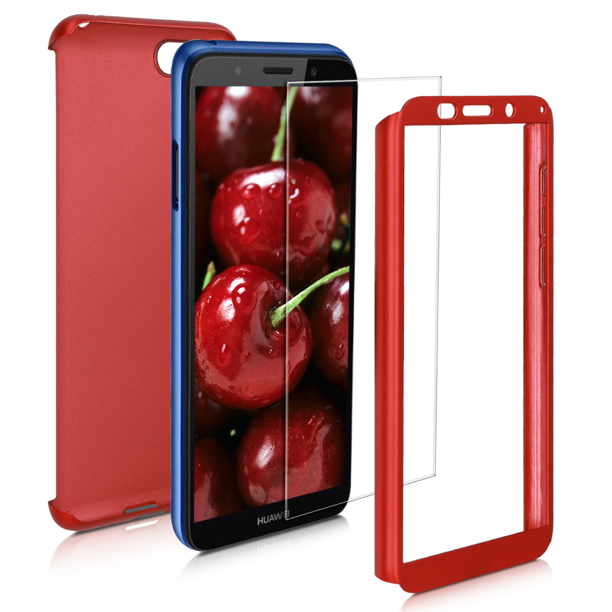 KW Θήκη Full Body Huawei Y5 / Y5 Prime 2018 & Tempered Glass - Metallic Dark Red (48887.36)