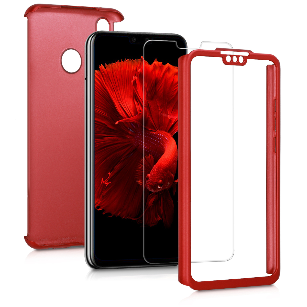KW Θήκη Full Body Huawei Y9 2019 & Tempered Glass - Metallic Dark Red (48889.36)