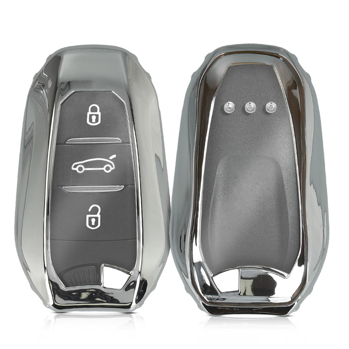 KW Θήκη Κλειδιού Σιλικόνης Peugeot Citroen - 3 Κουμπιά - Silver High Gloss (49071.94)