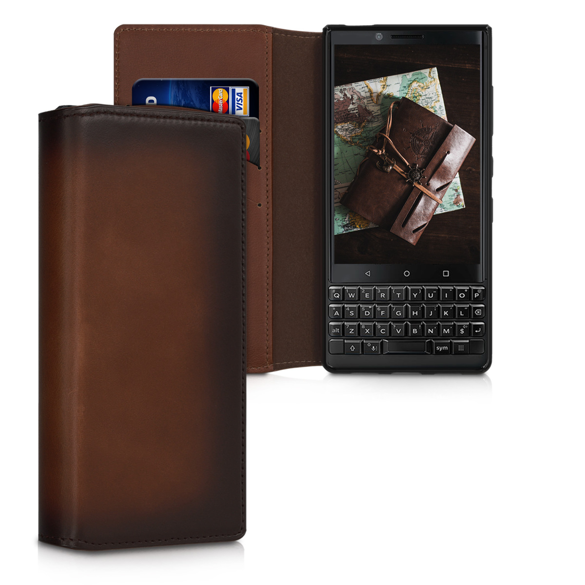 Kalibri Δερμάτινη Θήκη - Πορτοφόλι Blackberry KEYtwo (Key2) - Vintage Brown (49123.133)