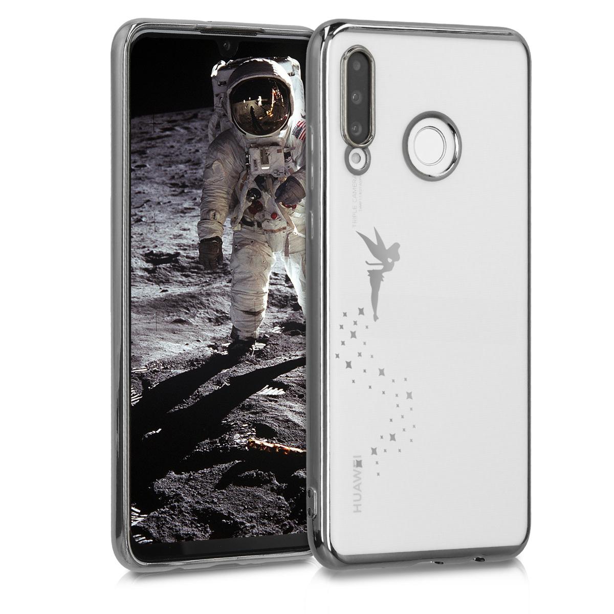KW Θήκη Σιλικόνης Huawei P30 Lite - Silver / Transparent (49128.01)