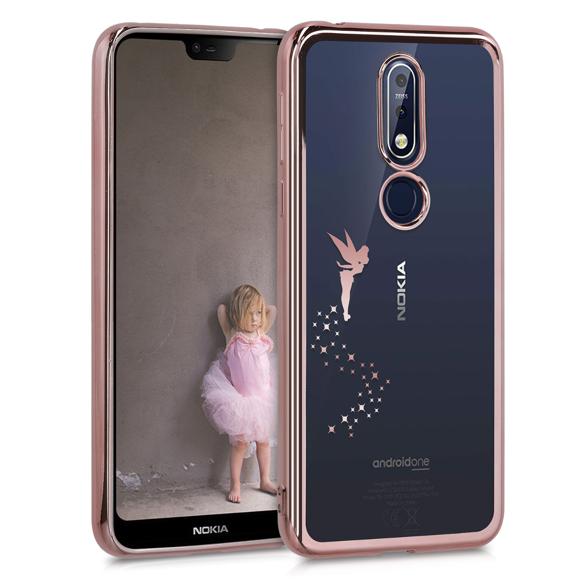 KW Θήκη Σιλικόνης Nokia 7.1 - Fairy Rose Gold / Transparent (49130.02)