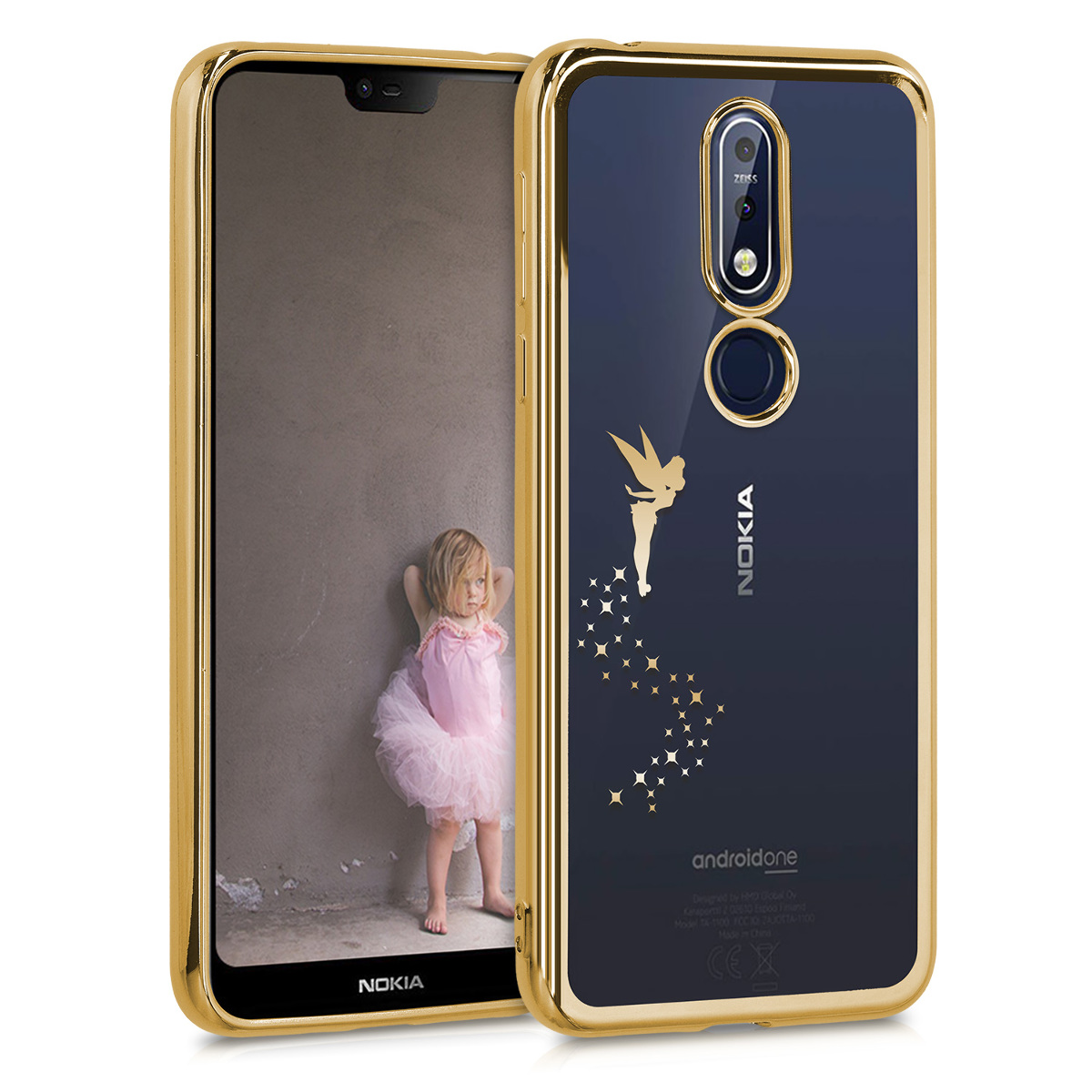 KW Θήκη Σιλικόνης Nokia 7.1 - Fairy Gold / Transparent (49130.03)