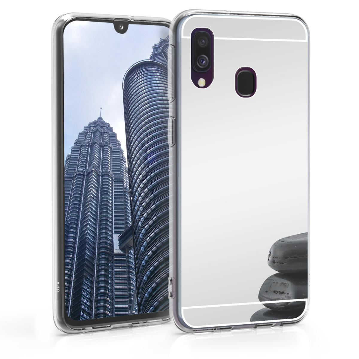 KW Θήκη Σιλικόνης με Καθρέφτη Samsung Galaxy A40 - Silver Reflective (49217.42)
