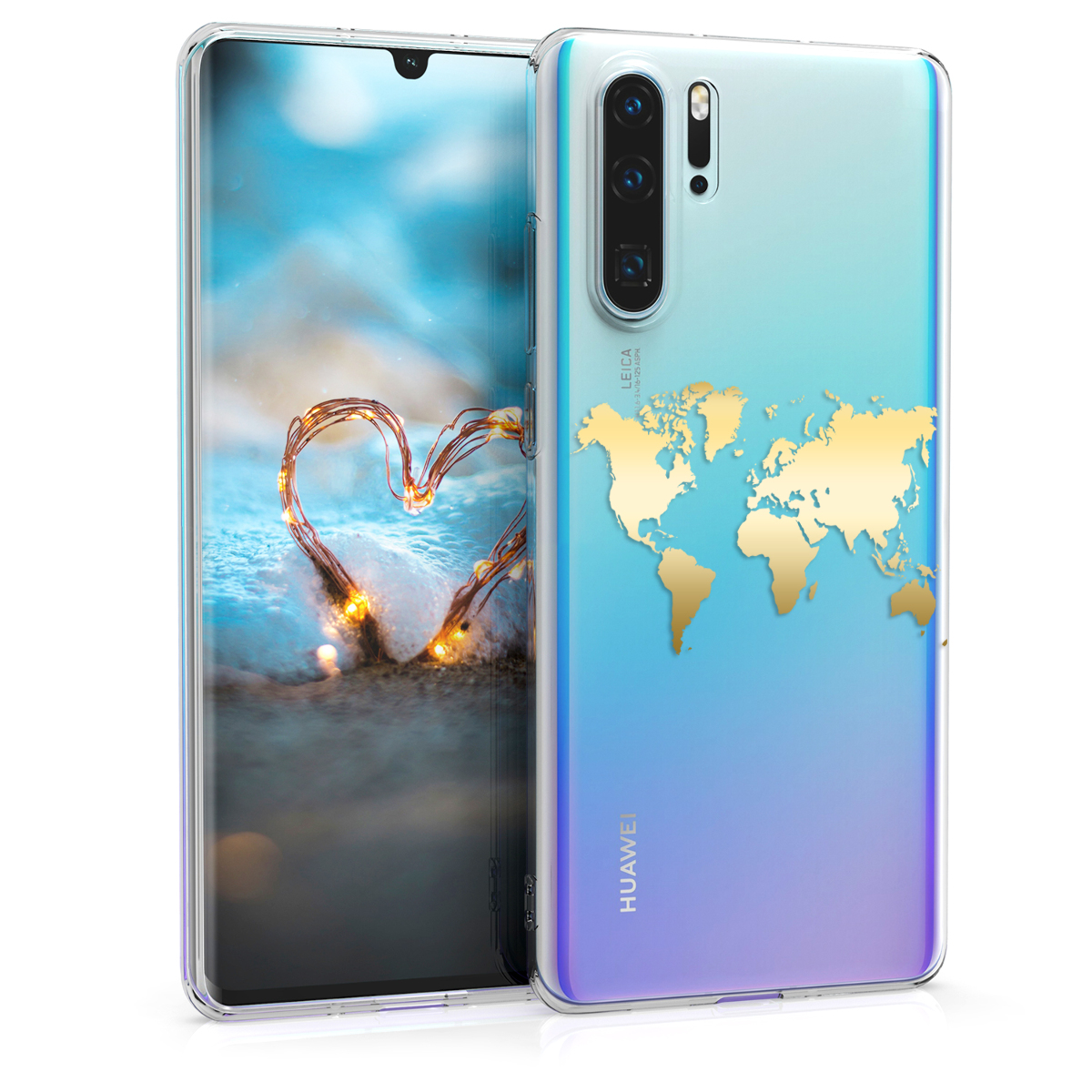 KW Θήκη Σιλικόνης Huawei P30 Pro - Crystal Clear - Gold / Transparent (49256.02)