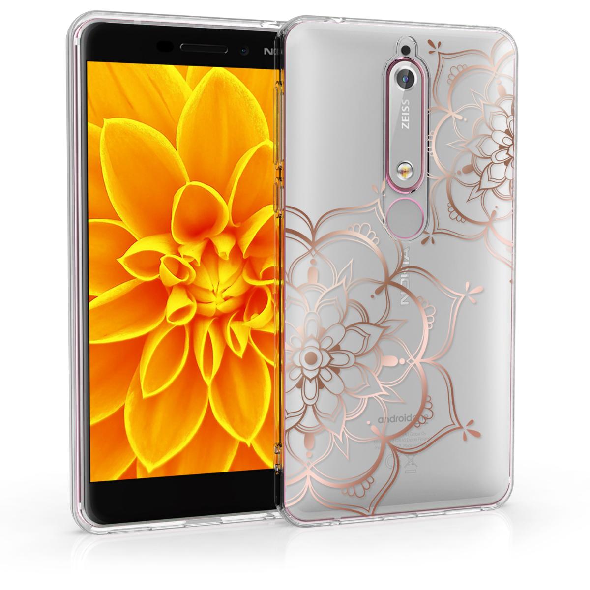 KW Θήκη Σιλικόνης Nokia 6.1 - Soft TPU Silicone - Rose Gold / Transparent (49258.01)