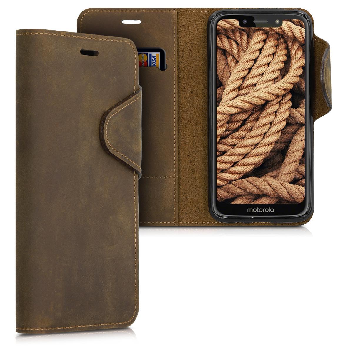 Kalibri Δερμάτινη Suede Θήκη - Πορτοφόλι Motorola Moto G7 Play - Brown ( 49297.05 )