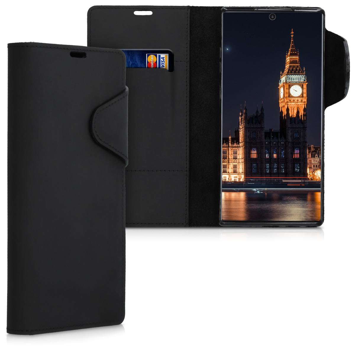 Kalibri Δερμάτινη Suede Θήκη - Πορτοφόλι Samsung Galaxy Note 10 Plus - Black (49355.01)
