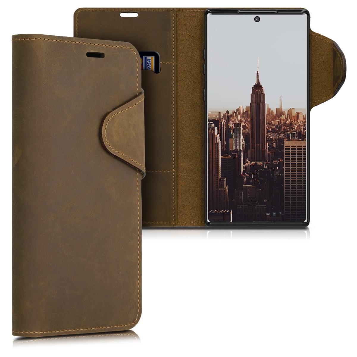 Kalibri Δερμάτινη Suede Θήκη - Πορτοφόλι Samsung Galaxy Note 10 Plus - Brown (49355.05)