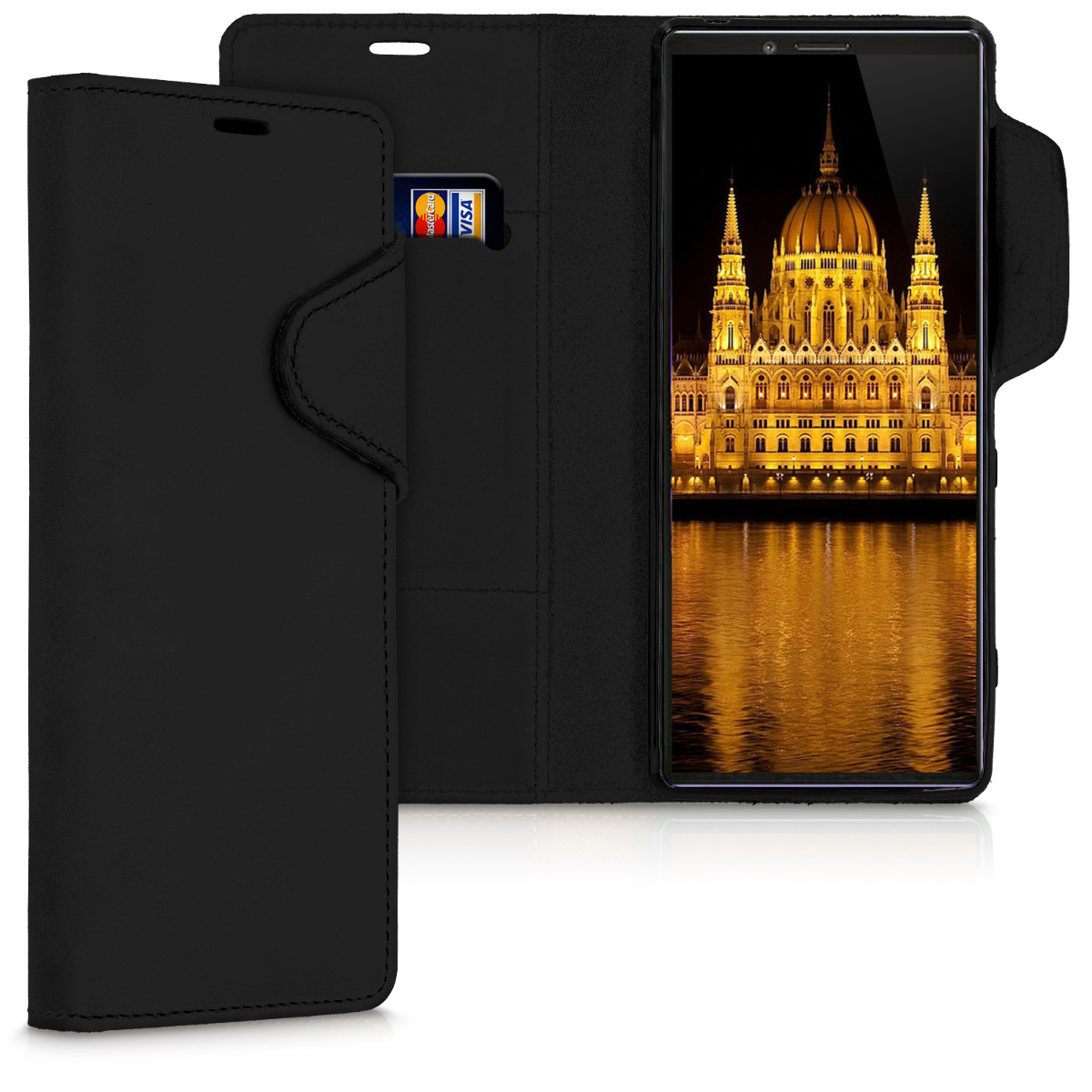 Kalibri Δερμάτινη Suede Θήκη - Πορτοφόλι Sony Xperia 1 - Black (49414.01)